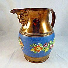 Large Copper Lustre Bacchus Jug or Pitcher. Bacchus, Primitive Folk Art, Rose Cottage, Primitives, Luster, Tea Set, Bristol, Blues, Copper