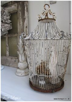 rustic bird cage, shabby chic, cottage charm, country porch #birdcage #porch
