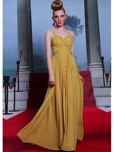 Alluring Pearls Chiffon Satin Spaghetti Straps Neckline Floor-length A-line Evening Dress