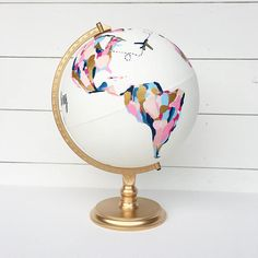 Wedding Guestbook Custom Hand Painted World Globe with Flora .-Wedding Guestbook Custom Hand Painted World Globe with Florals and Personalized Calligraphy Message Diameter Large Wedding guest book individually hand-painted globe with Globes Terrestres, World Globes, Snow Globes, Painted Globe, Hand Painted, Map Globe, Globe Art, World Globe Map, Wedding Guest Book