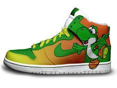 cartoon characters Nike, reebok , Adidas, sneakers | ... Games Character – Green Yoshi Nike Dunk | Themed Shoes For Sale