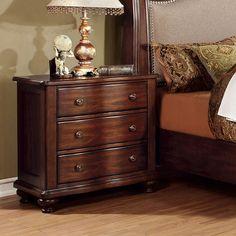Bellavista Traditional Elegant Style Brown Cherry Finish Bedroom Nightstand