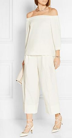 TIBI Off-the-shoulder white stretch-crepe top