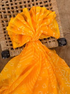 Yellow silk bandhej saree