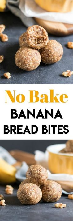 Get all of the flavor of freshly baked banana bread from these No Bake Banana Bread Bites but in only a fraction of the amount of time it takes to bake! Banana bread ready in minutes! #nobake #energybites #bananabread #recipe #snacktime #snacking #bananas