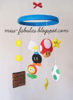 SUPER MARIO BROS decorative baby cot cradle crib mobile felt