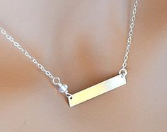 Check out Silver Bar Necklace, Nameplate Bar, Initial Bar, Personalized Gold Bar Necklace, Rose Gold Bar Necklace on malizbijoux Nameplate Necklace, Personalized Necklace, Name Necklace, Arrow Necklace, Silver Bar Necklace, Gemstone Necklace, Sapphire Gemstone, Silver Bars, Gifts For Her