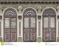 Image of old Chino-Portuguese windows (European Retro) architecture style in old town singapore.