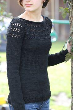 Eyelet Yoke Sweater (hva) - FREE knitting pattern here: http://pinkbrutus.com/eyelet-yoke-sweater/