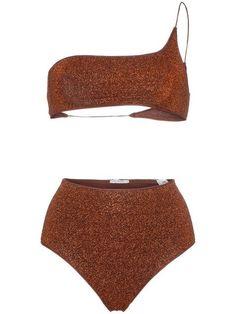 b673d35b4d Oseree Brown Lumiere One Shoulder Bikini
