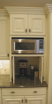 hideaway cabinet for small appliances cabinet details  u0026 specialty cabinets   eclectic   kitchen cabinets   detroit   woodmaster kitchens appliance cabinet for microwave toaster mixer etc  fold back      rh   pinterest com