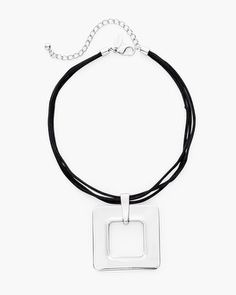 A sleek metal square beautifully rounds-out your collection in this modern silver-tone necklace styled for everyday glam.   Metal, cubic zirconia.  Imported.