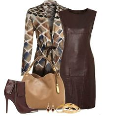 Brown dress with matching boots.