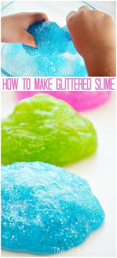 How to make Glitter Slime http://www.the36thavenue.com/2012/09/how-to-make-glitter-slime.html