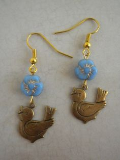 Song Bird in The Blue Pansies Dangle Earrings by TheQuietbee, $15.00