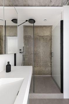 Kitchen Upstairs, Light Oak Floors, Concrete Ceiling, Concrete Walls, Zinc Roof, Oak Parquet Flooring, Small Terrace, Parisian Apartment, Vogue Living