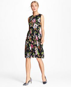 d8978caee6 Brooks Brothers Floral-Print Georgette A-Line Dress Indie Outfits, Princess  Seam,