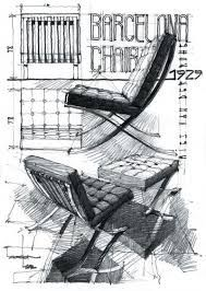 Sketch Barcelona chair by Mies Van der Rohe