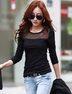 Korean Round Neck Mesh Splicing Long Sleeve Tee For Women | Item Code 725950 at M.EastClothes.com