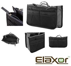 "ElaxorâÂ""¢ Portable & Expandable 13 Pocket Handbag Insert, Cosmetic Makeup, Purse Organizer, Diaper Bag Organizer (Grey)s by ElaxorâÂ""¢ -- Awesome products selected by Anna Churchill"