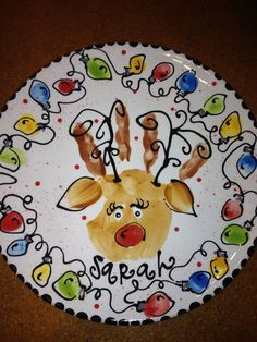 hand print reindeer plate with finger print light bulbs Christmas Plates, Christmas Projects, Kids Christmas, Holiday Crafts, Christmas Canvas, Merry Christmas, Preschool Christmas, Christmas Activities, Footprint Crafts