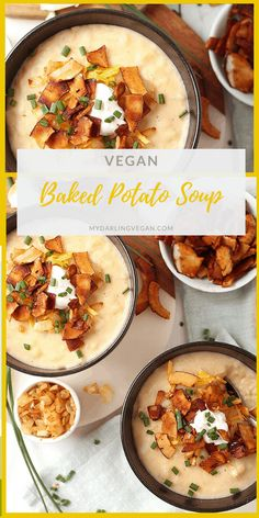You're going to love this fully loaded vegan Baked Potato Soup. It's a rich and creamy potato soup topped with coconut bacon, vegan cream cheese, caramelized onions, and fresh chives. It doesn't get much cozier than that! Vegan Baked Potato, Vegan Potato Soup, Cream Of Potato Soup, Baked Potato Recipes, Vegan Soups, Veggie Recipes, Soup Recipes, Whole Food Recipes, Healthy Recipes
