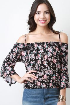 Floral Cold Shoulder Bell Sleeves Top – Style Lavish