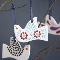 Hand decorated ceramic birds