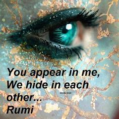 You appear in me, We hide in each other... Rumi