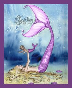 Mermaid Playing with Daughter from Original Watercolor Painting by Camille Grimshaw ~~ Beautiful! It would be fun to do something like this for my kids. Little boys swimming around the mommy and daughter. Mermaid Nursery, Mermaid Bathroom, Mermaid Room, Baby Mermaid, Girl Nursery, The Little Mermaid, Nursery Decor, Mythical Creatures, Sea Creatures