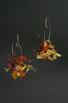 Fragle Rock Sterling and Handmade Paper Earrings by Tia Kramer