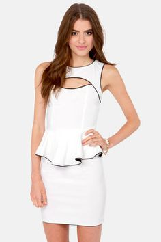 Check it out from Lulus.com! When you shimmy your way into the street in the Best Side Story Ivory Peplum Dress, your friends will follow along in chorus line style! Fitted bodice has a bateau neckline coupled by an sexy cutout along the decolletage and a ruffled peplum waist. With showstopping black piping, this stretch knit bodycon dress has it all, right down to the princess seams and fitted tube skirt. Hidden back zipper. Unlined. Model is wearing a size small. 74�0Rayon, 22�0Nylon…