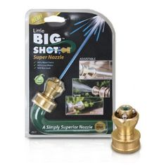 K-CO Innovations LBSR-1 Little Big Shot Super Hose Nozzle by K-CO. $10.50. Adjustable Spray Patterns, Power Sweep, Spray, Pin-Point. Uses less water than standard trigger nozzle. Fits any standard hose. The K-CO Innovations Little Big Shot Super Nozzle is pound for pound the most effective, water-efficient nozzle you can buy. The Nozzle fits any standard hose and adjusts from powerful sweeper to spray for watering plants, to even a pin point stream! Manu