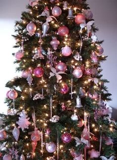 pink decorations on tree by henrietta christmastree christmastrees christmasdecor christmastreetheme christmastreecolors - How To Decorate Pink Christmas Tree