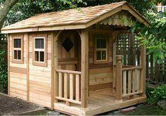 Outdoor Living Today - 6x9 Sunflower Playhouse - 3 Functional Window / 3ft Cedar Deck Porch #Materials_Western-Red-Cedar #Playhouses #Sizes_6'-x-9'