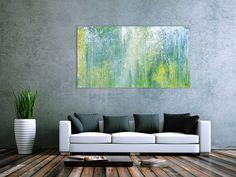Sehr modernes Acrylbild abstrakt blau grün türkis 95x160cm von xxl-art.de