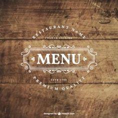 Badge restaurante retro na madeira: