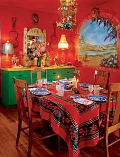 New Home Interior Design: Architectural Digest Visits Anjelica Huston Mexican Interior Design, Mexican Designs, Architectural Digest, Estilo Kitsch, Mexican Style Kitchens, Mexican Home Decor, Hacienda Style, Mexican Hacienda, Spanish Style Homes