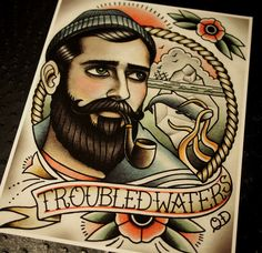 Troubled Waters Tattoo Art Print by ParlorTattooPrints on Etsy https://www.etsy.com/listing/159292026/troubled-waters-tattoo-art-print