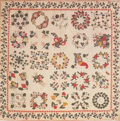 Bride's Quilt, 1850. Made by Eliza Jane Bailes Manahan. Carroll Co, Maryland.