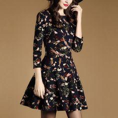 2017 New Fashion High Quality Women Vintage Dress Three Quarter O-neck Comfortable Waist Dragonfly Flowers Pattern Dress ZP17