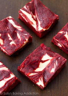 Red Velvet Cheesecake Swirl Brownies Recipe ~ only takes 30 min. to make and is so yummy by sallysbakingaddiction.com
