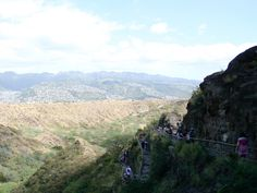 The switchbacks we hiked up to reach the summit of Diamond Head.