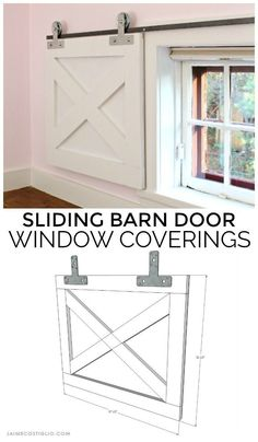 Barn Door Window Coverings with Simpson Strong-Tie Hardware Looking for a simple and effective window covering solution that provides complete blackout coverage? The sliding barn door with Simpson Strong-Tie hardware makes a great window covering. Door Window Covering, Kitchen Window Coverings, Farmhouse Window Treatments, Sliding Door Window Treatments, Window Seats, Bedroom Window Coverings, Basement Window Treatments, Small Window Treatments, Basement Windows