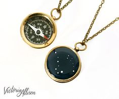 Small Working Compass Necklace with by VictoriaCampAllison on Etsy