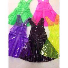 Free Ship The stunning Bang fluorescence alien neon PVC strap large swing dress - Thumbnail 3