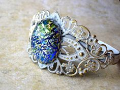 Foiled Glass Shabby Cuff Bracelet by 2VintageGypsies on Etsy, $12.00