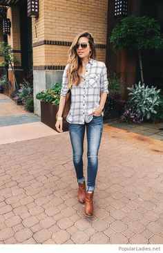 brown-boots-blue-jeans-and-plaid-shirt