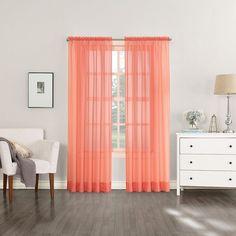 No918 Solid Voile Curtain, Orange
