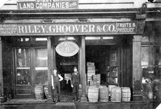 The storefront of Riley, Groover, and Company (photo circa 1880, via the Osceola County website).